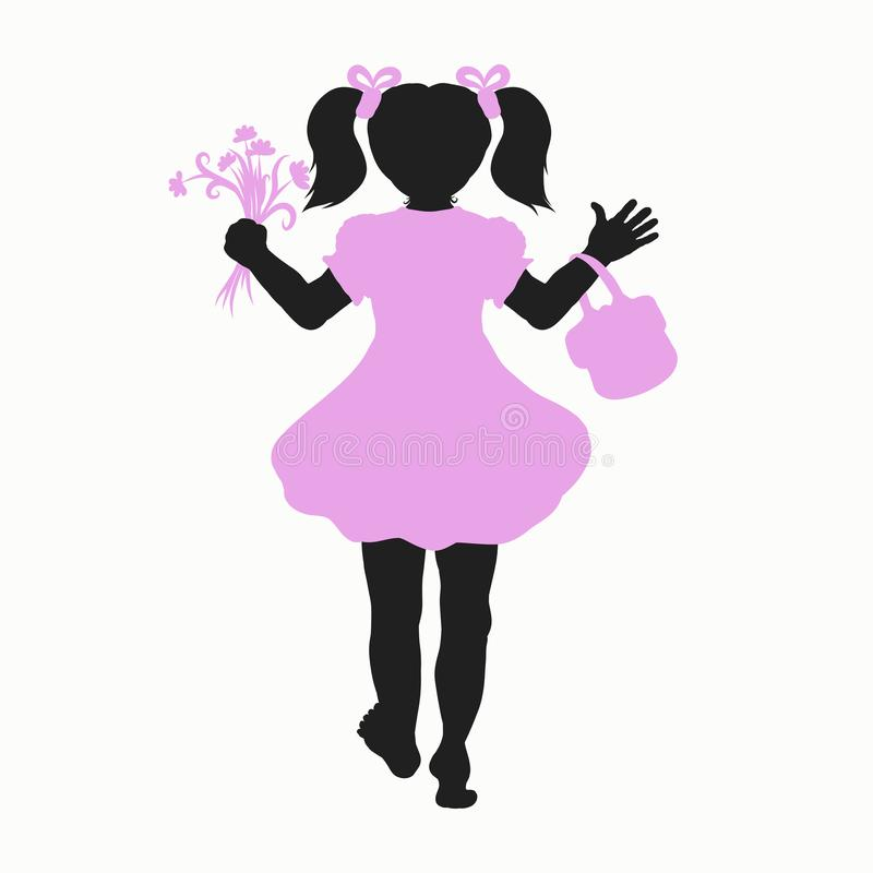 Blootvoets meisjessilhouet met handtas en bloem vector illustratie