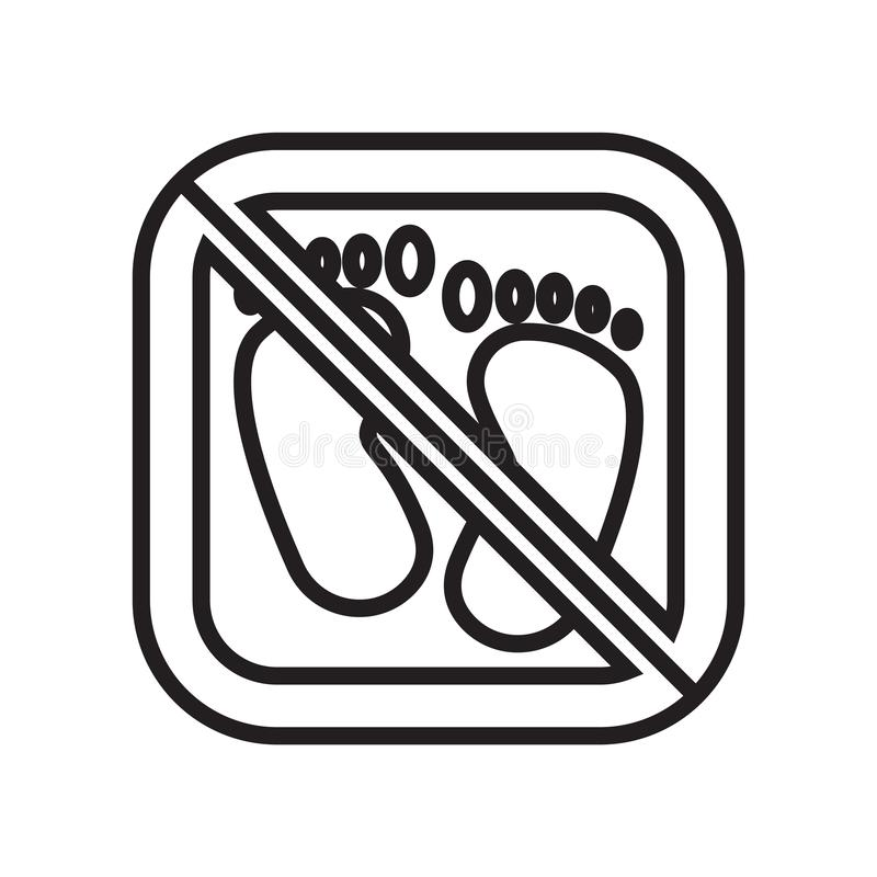 Blootvoets pictogram vectordieteken en symbool op witte achtergrond, Blootvoets embleemconcept wordt geïsoleerd royalty-vrije illustratie