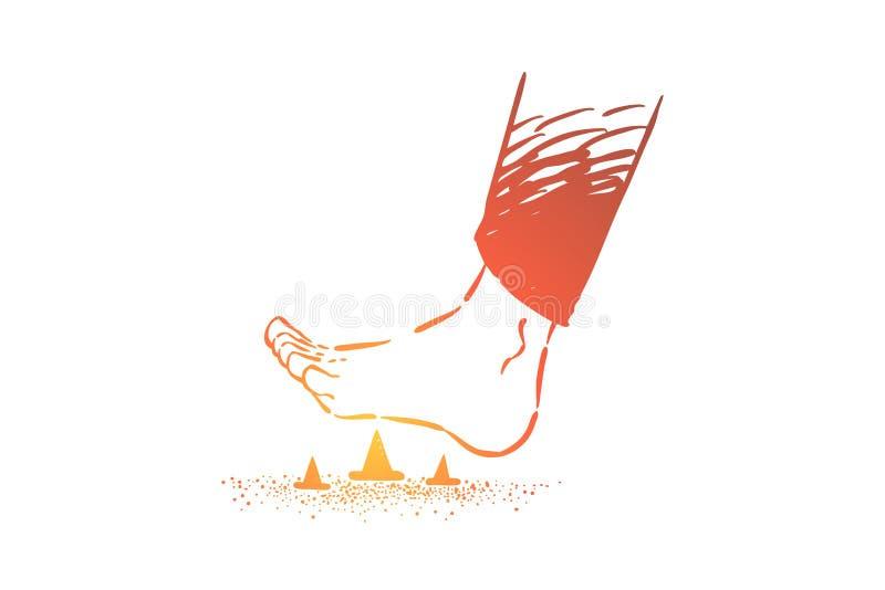 Blootvoets stappend op metaalspelden, voet op stekelige speld stappen en kopspijker die op de vloer stock illustratie