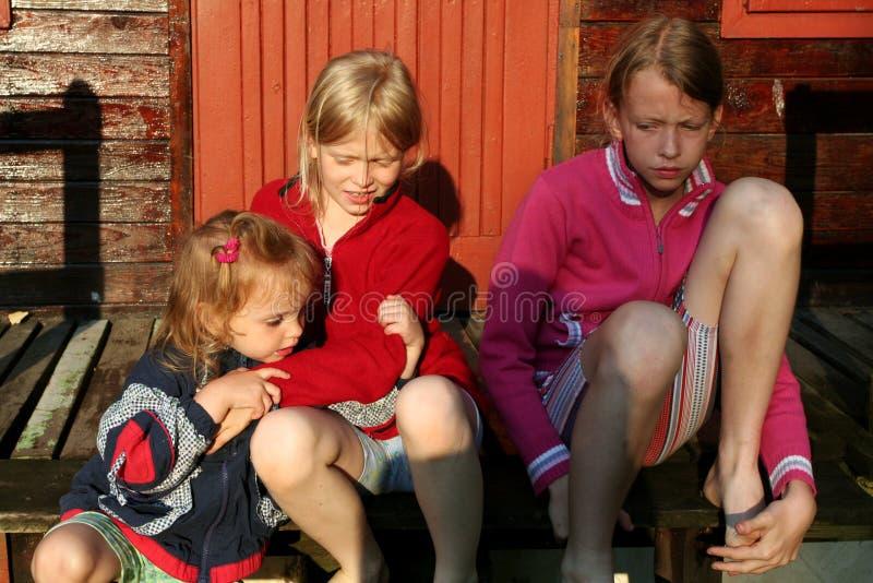 Blootvoetse meisjes royalty-vrije stock foto