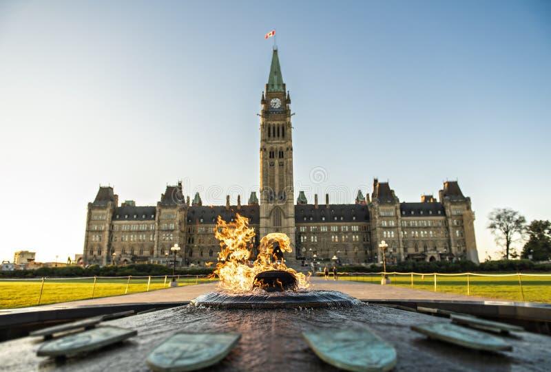 Bloque de centro y la torre de la paz en colina del parlamento en Ottawa en Canadá fotografía de archivo libre de regalías