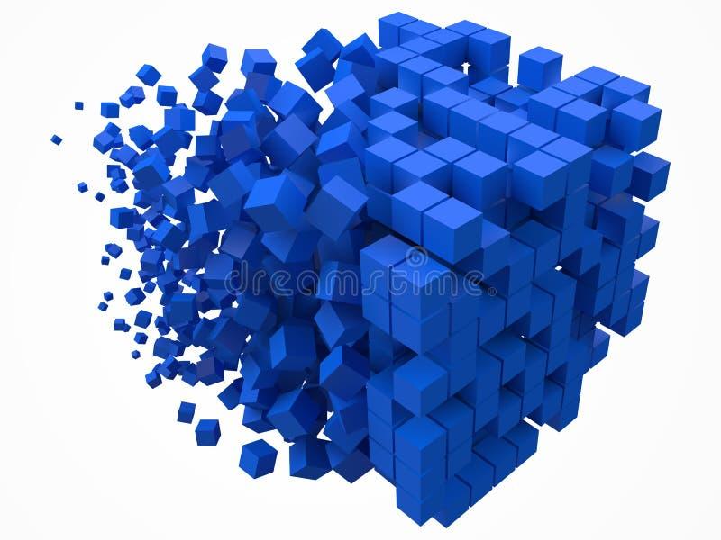 Bloque de datos cúbico grande hecho con cubos azules más pequeños ejemplo del vector del estilo del pixel 3d ilustración del vector