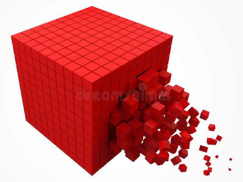 Bloque de datos de disolución hecho con cubos rojos más pequeños ejemplo del vector del estilo del pixel 3d ilustración del vector