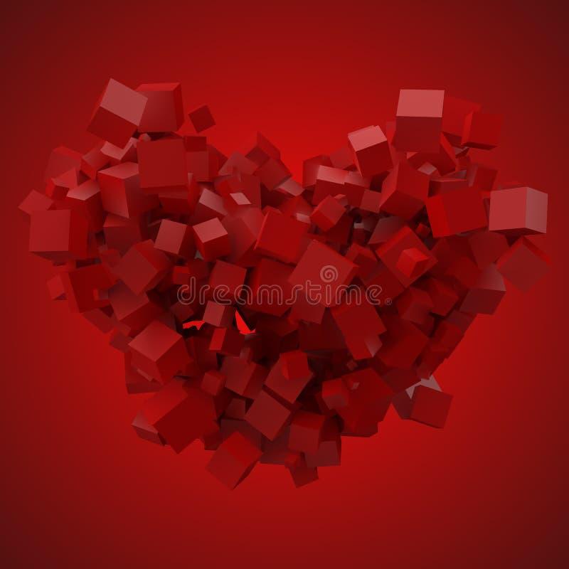 Bloque de datos en forma de corazón hecho con los cubos al azar del tamaño ejemplo del vector del estilo del pixel 3d libre illustration