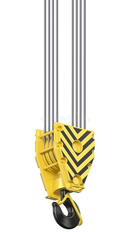 Bloque de gancho negro y amarillo grande de la grúa del towe de la construcción que cuelga en las cuerdas de acero 3d rinden de h foto de archivo
