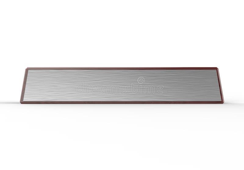 Bloque de madera de la placa de identificación en blanco del escritorio para el interior del hogar de la oficina 3d rinden la ilu stock de ilustración