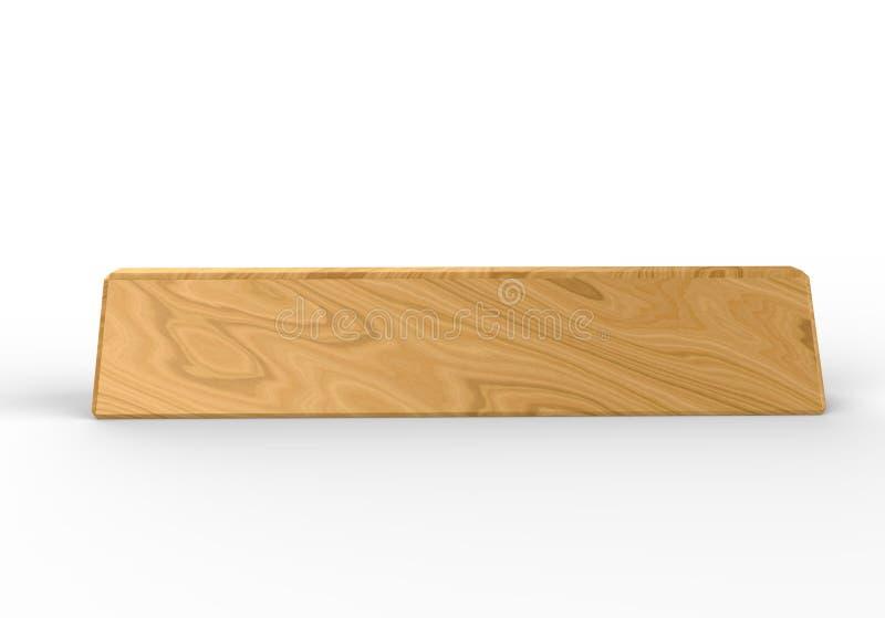 Bloque de madera de la placa de identificación en blanco del escritorio para el interior del hogar de la oficina 3d rinden la ilu ilustración del vector