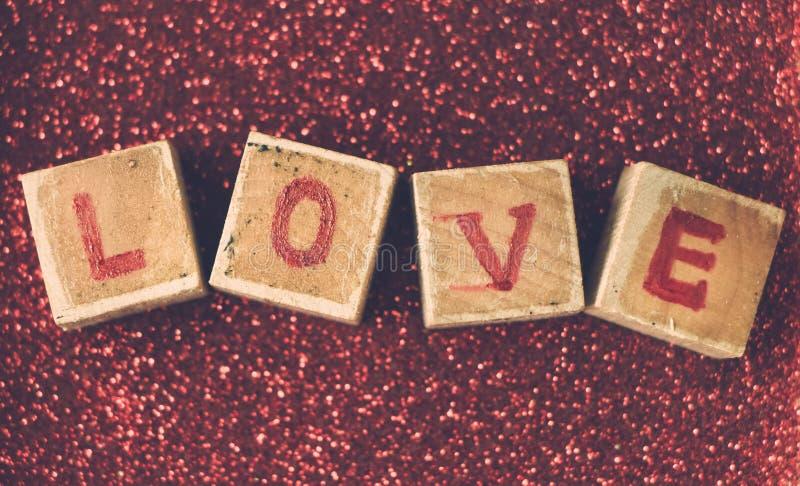 Bloque de palabra del amor foto de archivo