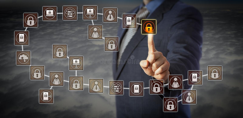 Bloque de Selecting Most Recent del encargado en Blockchain imagen de archivo