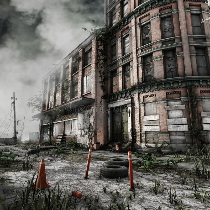 Bloque de viviendas abandonado stock de ilustración