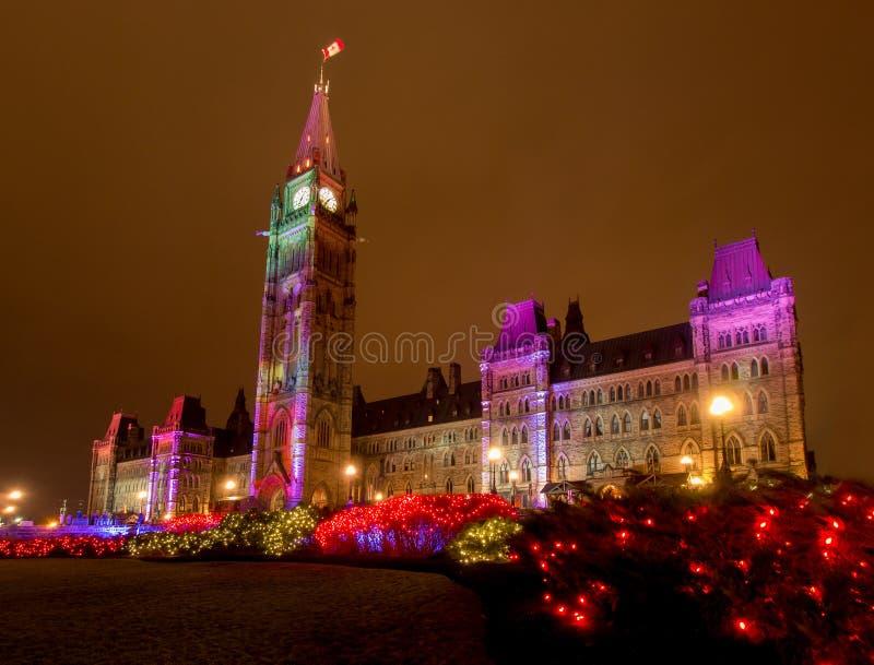 Bloque del centro de Ottawa en la Navidad foto de archivo