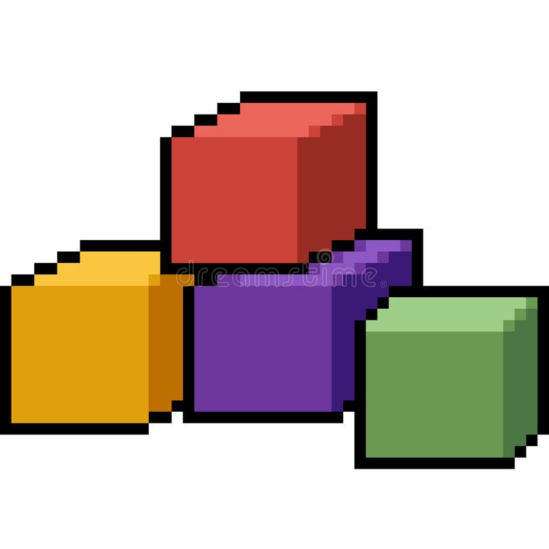 Bloque del juguete del arte del pixel del vector libre illustration