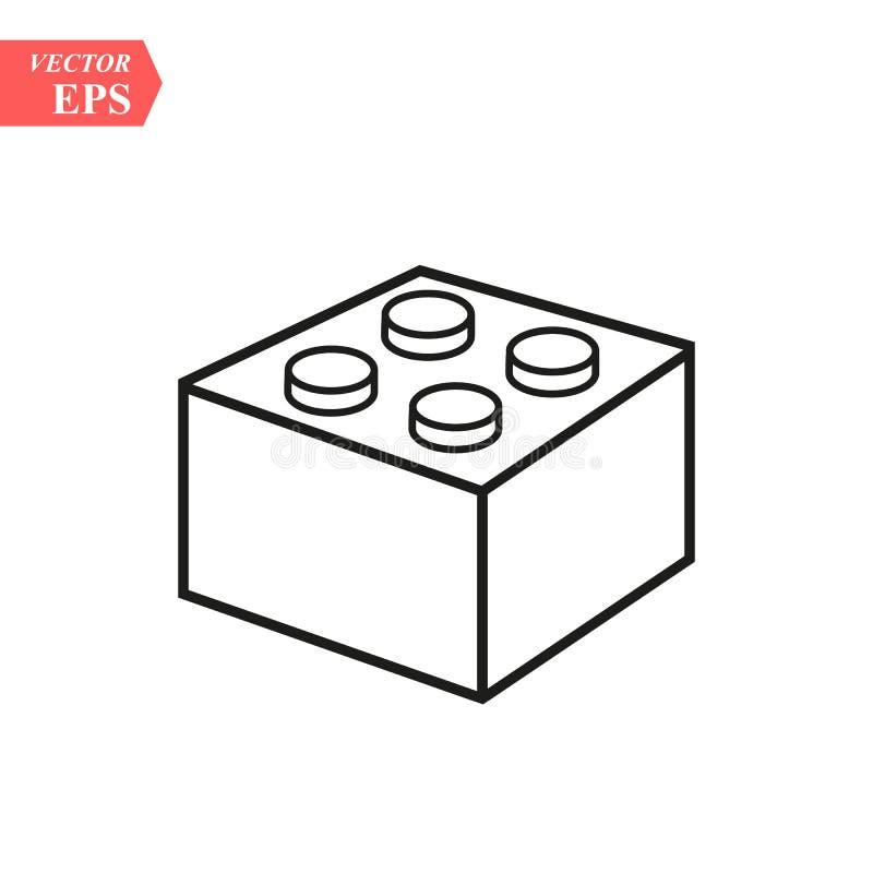 Bloque del ladrillo de Lego o línea icono del pedazo del vector del arte para los apps y los sitios web del juguete stock de ilustración