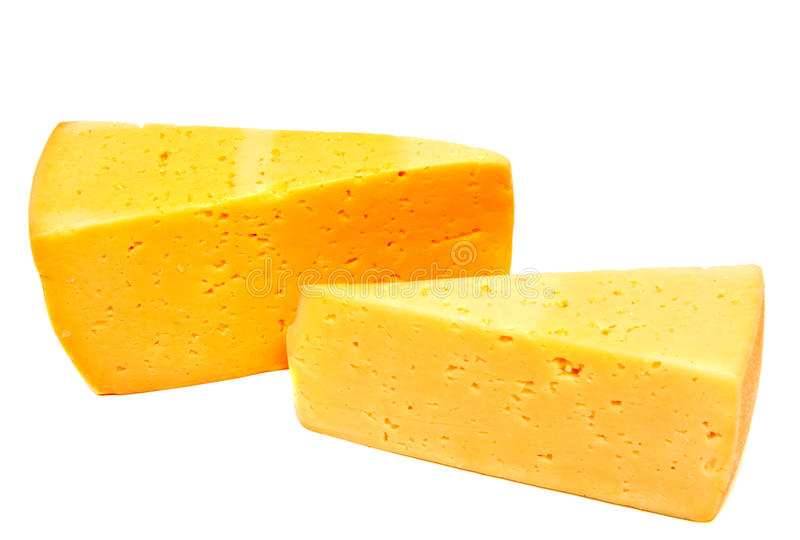 Bloque del queso aislado en el recorte blanco del fondo foto de archivo libre de regalías