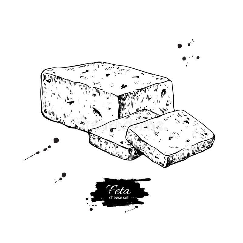 Bloque griego del queso feta, dibujo de la rebanada Comida dibujada mano s del vector ilustración del vector