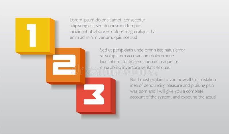 Bloque le calibre des textes de nombre d'élément d'infographics Illustration de vecteur peut être employé pour la disposition de  illustration de vecteur