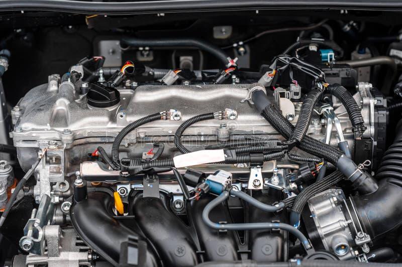 Bloque limpio del motor dentro de un coche imagen de archivo libre de regalías