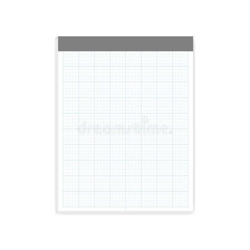 Bloque seccionado transversalmente del papel de nota del tamaño de la letra - cojín de escritura, maqueta ilustración del vector