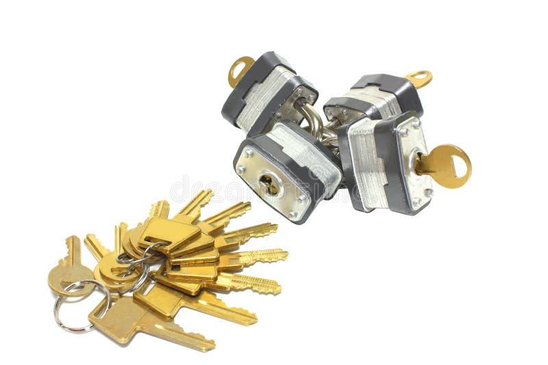 Bloqueos y claves fotografía de archivo libre de regalías