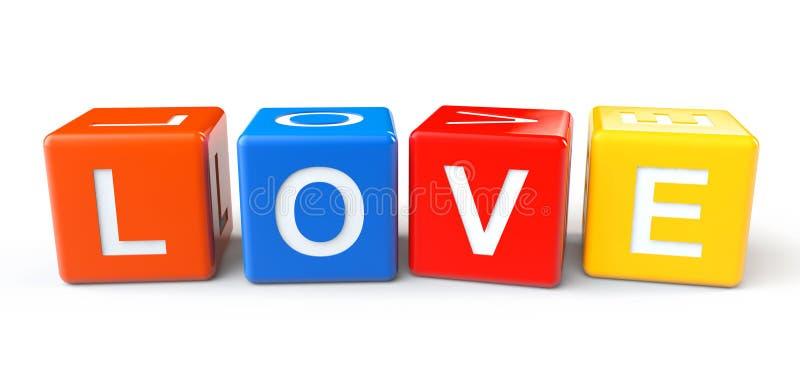 Bloques con la muestra del amor stock de ilustración
