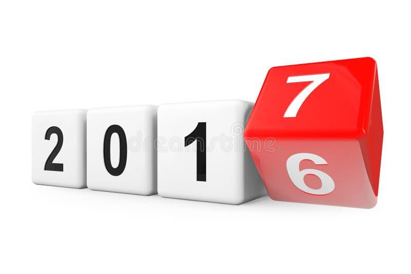 Bloques con la transición a partir del año 2016 a 2017 representación 3d ilustración del vector