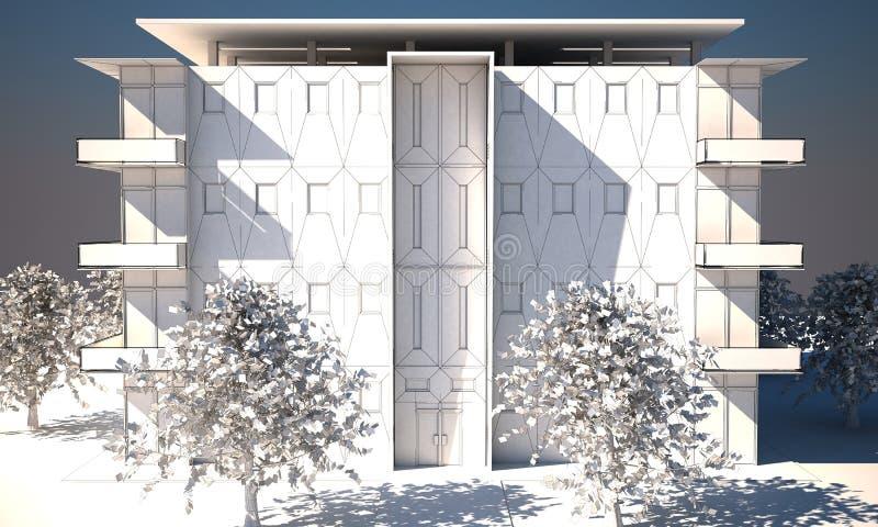bloques de apartamentos 3d en wireframe stock de ilustración