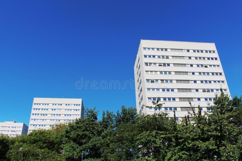 Bloques de apartamentos blancos modernos contra SK azul imagenes de archivo