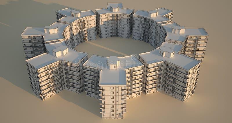 Bloques de apartamentos en círculo. ilustración del vector