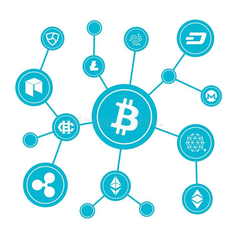 Bloques de Blockchain con símbolos del cryptocurrency stock de ilustración