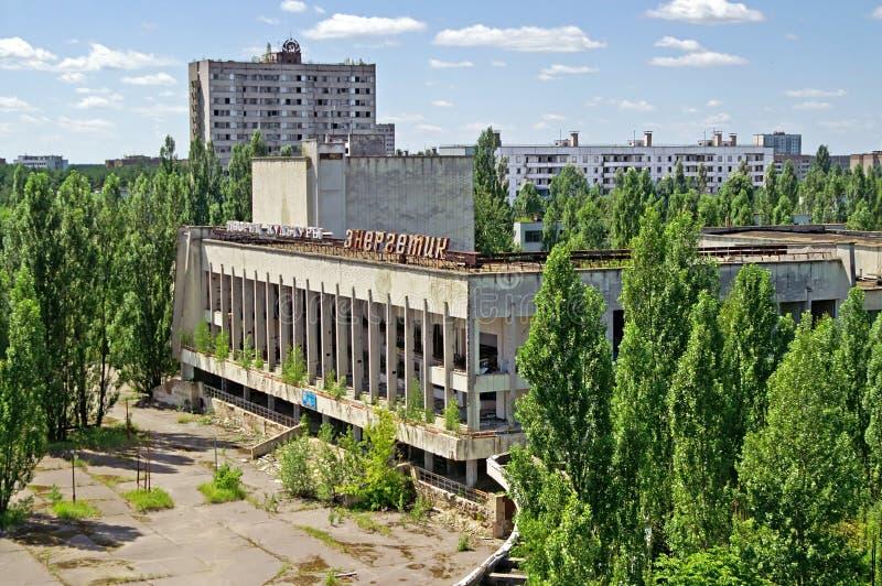 Bloques de casas en el pueblo fantasma de Pripyat de la zona de exclusión de Chornobyl foto de archivo libre de regalías