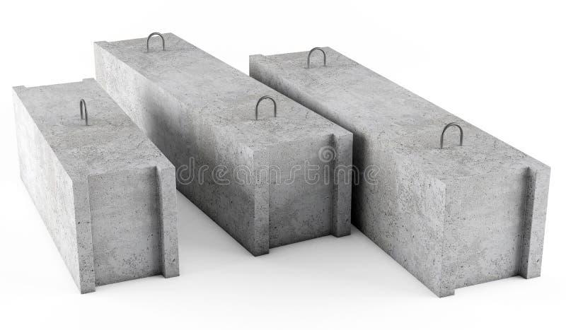 Bloques de fundación concretos en el fondo blanco foto de archivo