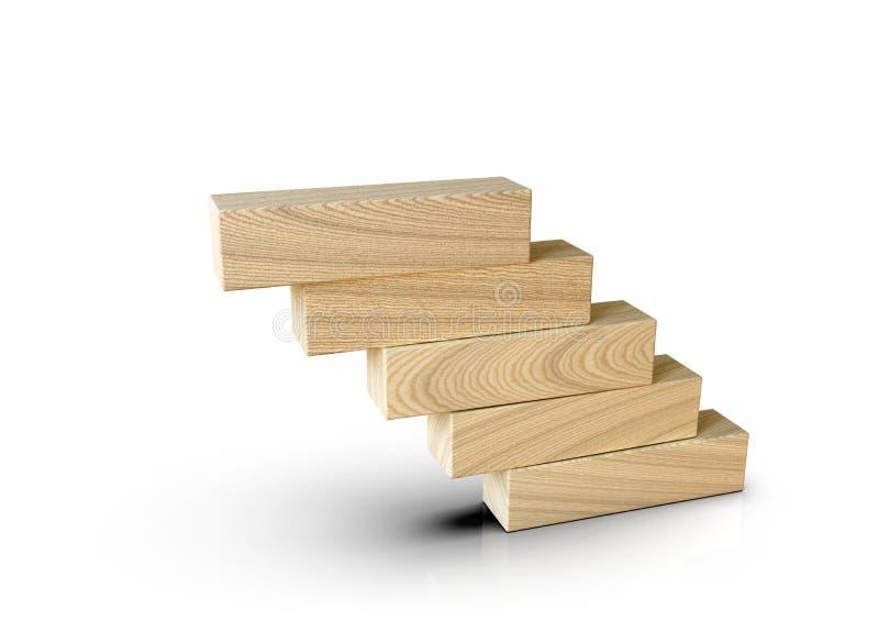 Bloques de madera apilados en escalones de escalera en forma de concepto blanco, metáfora fotografía de archivo libre de regalías