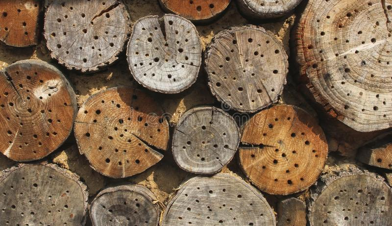 Bloques de madera con las casas de abeja imágenes de archivo libres de regalías