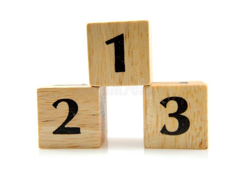 Bloques de madera con los números 1 2 3 foto de archivo