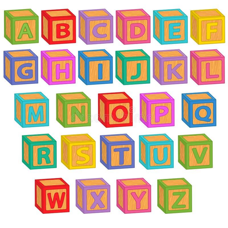 bloques del inglés del alfabeto ilustración del vector