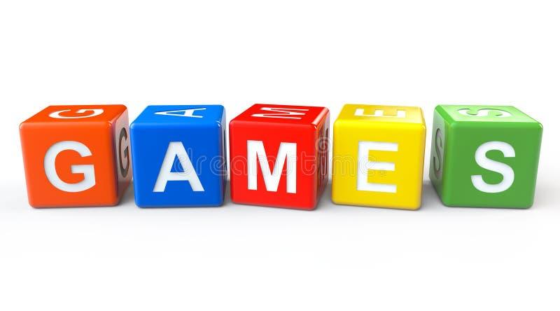 Bloques del juguete con la muestra de los juegos ilustración del vector