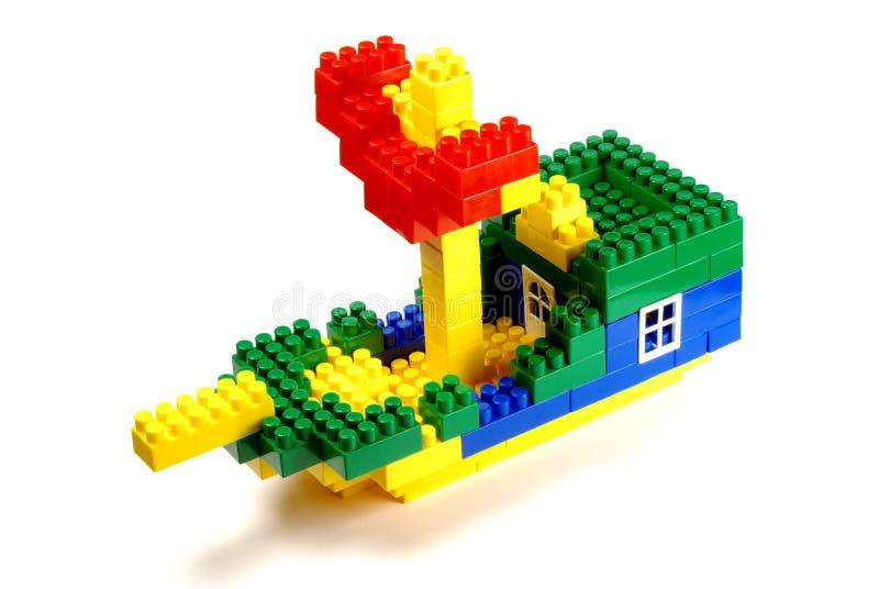 Bloques huecos del juguete - una nave foto de archivo