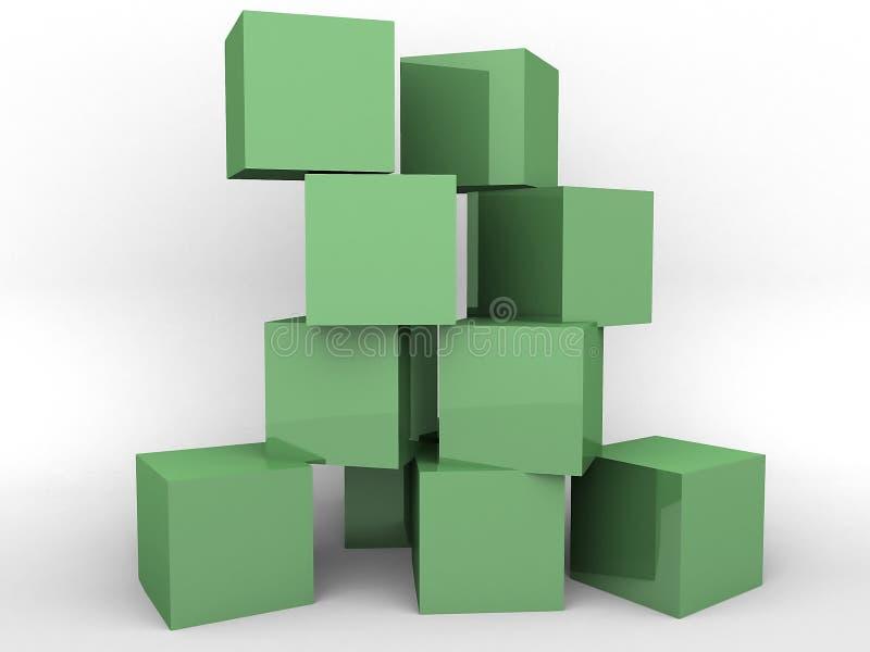 Bloques huecos verdes ilustración del vector