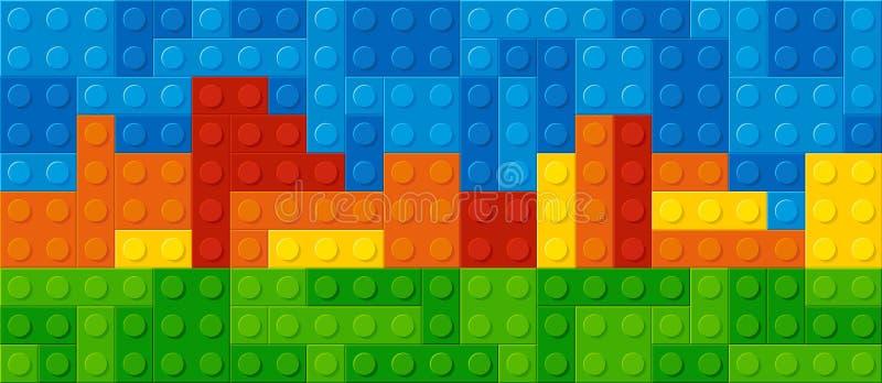 Bloques plásticos de la construcción stock de ilustración