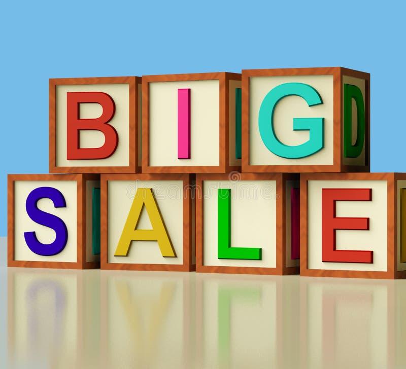 Bloques que deletrean venta grande como símbolo para los descuentos stock de ilustración