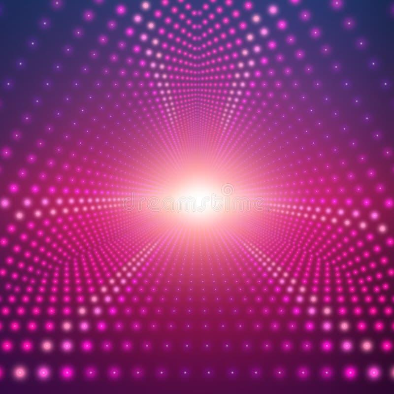 Blossar den oändliga triangulära tunnelen för vektorn av att skina på mörk bakgrund Glödande sektorer för punktformtunnel vektor illustrationer