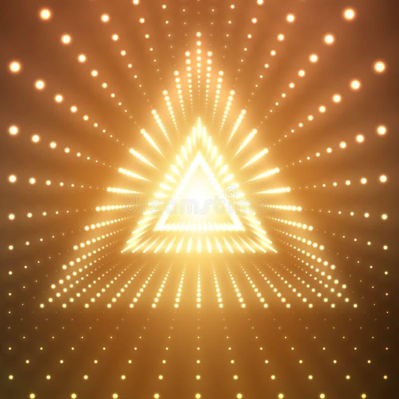 Blossar den oändliga triangulära tunnelen för vektorn av att skina på orange bakgrund Glödande sektorer för punktformtunnel vektor illustrationer