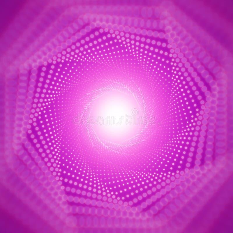 Blossar den oändliga tunnelen för vektorn av att skina på violett bakgrund med grunt djup av fältet Glödande punktformtunnel royaltyfri illustrationer