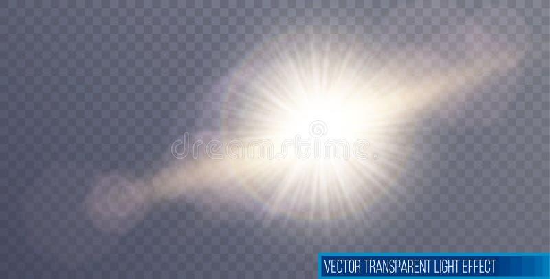 Blossar den speciala linsen f?r vektorsolljus ljus effekt Solexponering med str?lar och str?lkastaren royaltyfri illustrationer