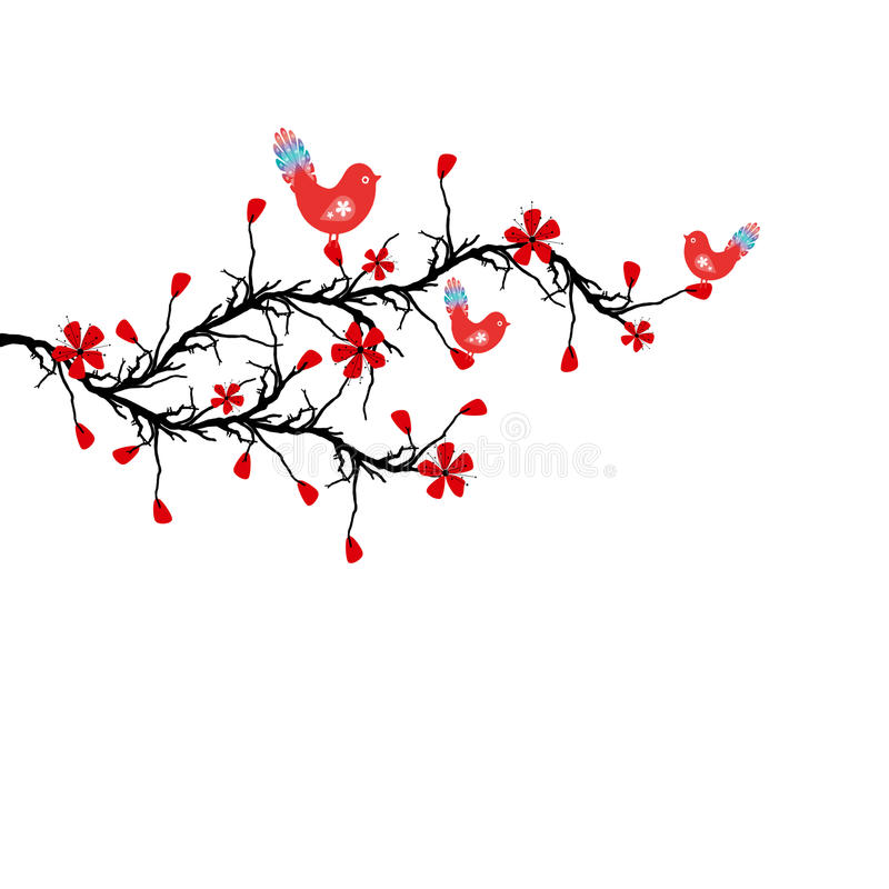 Download Blossom Cherry and birds stock illustration. Image of close - 22594965