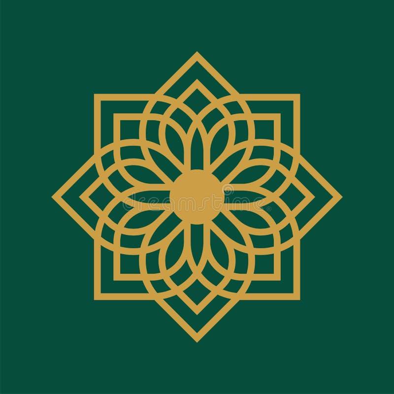 The Mosque Ramadan Logo Template Luxury: Arabic Ornamental Star Flower Icon Vector Logo Template