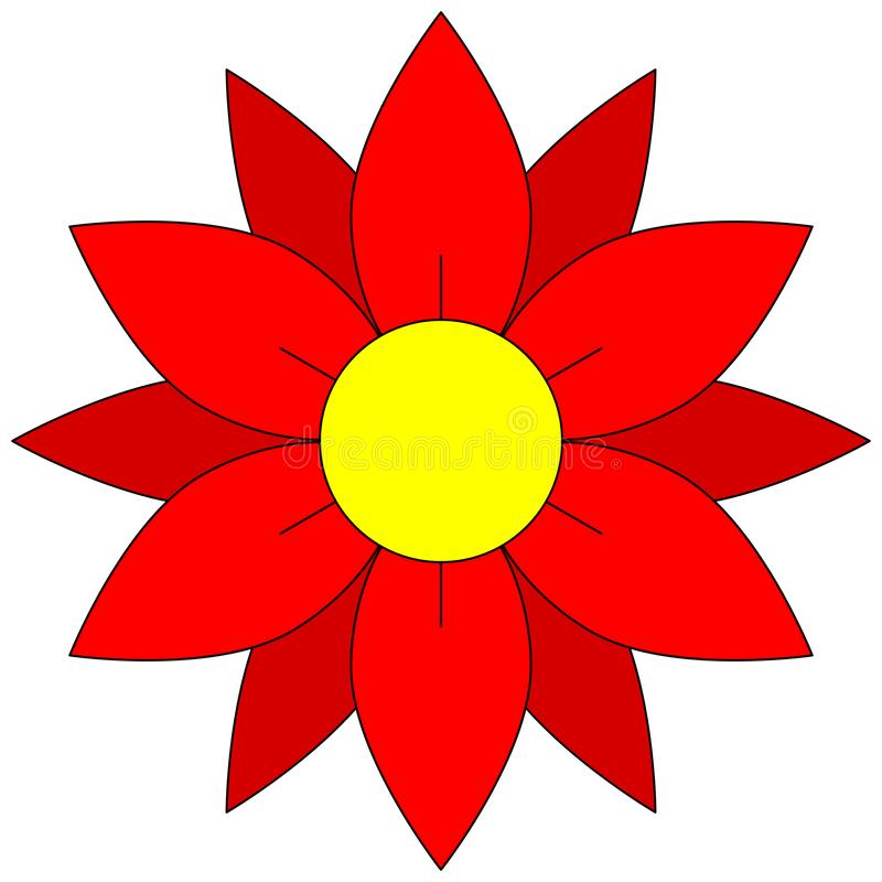 Blossom icon. Red flower clipart. stock illustration