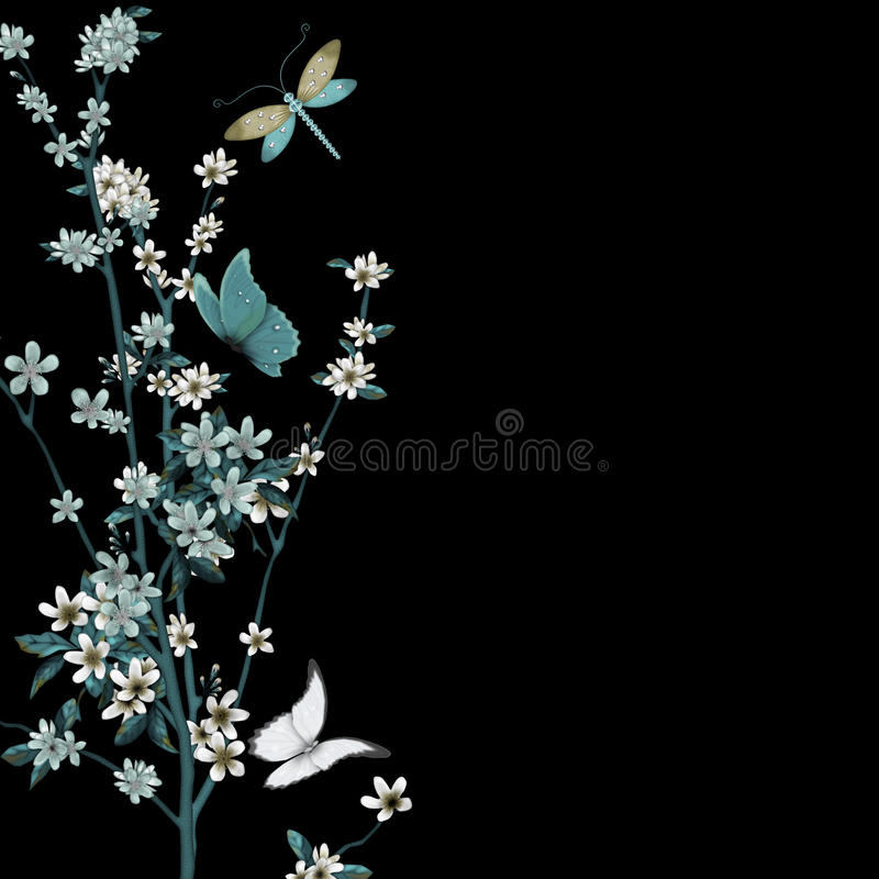Blossom and insects vector stock illustration