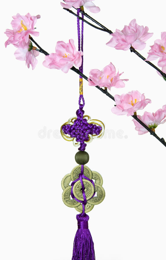 Blossom Tree and Chinese New Year Hanging Decoration stock images