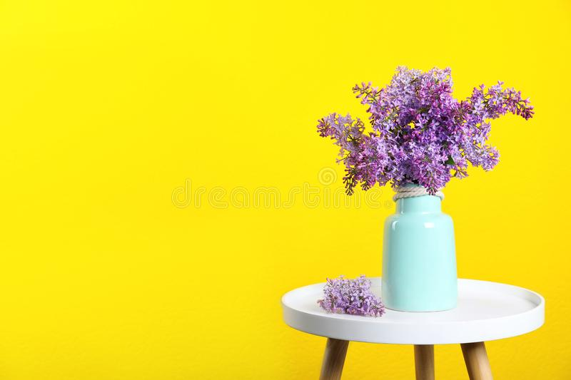 Blossoming lilac flowers in vase on table against color background. Space for text royalty free stock photos